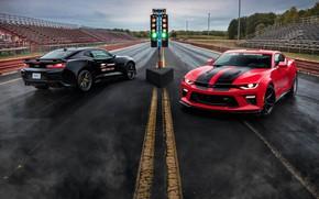 Картинка Красный, Черный, Chevrolet, Машины, Camaro, Диски, ZL1, Drag Racing
