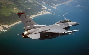 Обои F-16, Fighting Falcon, General Dynamics, истребитель четвёртого поколения, американский многофункциональный лёгкий