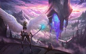 Картинка Wings, Посох, Девушка, Juhyung Kang, by Juhyung Kang, Fantasy, Warrior, Heaven, Крылья, Castle, Ангел, Girl, …