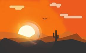 Картинка пейзаж, закат, минимализм, векторная графика
