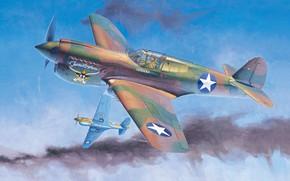 Картинка Curtiss, Warhawk, американский истребитель, P-40E, Военно-воздушные силы США