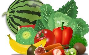 Картинка фрукты, натюрморт, овощи