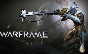 Картинка оружие, существо, силуэт, солдат, ствол, пушка, броня, киборг, прицел, персонаж, Warframe