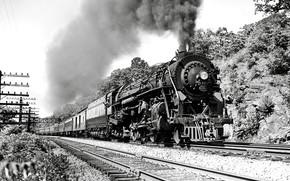 Картинка Дым, Паровоз, Поезд, Пути, Рельсы, Железная Дорога