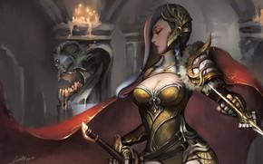 Картинка girl, sword, fantasy, cleavage, armor, weapon, breast, Warrior, digital art, artwork, fantasy art, chest, cape, …