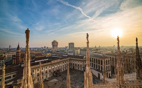 Картинка здания, Италия, Милан, скульптуры