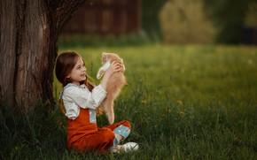 Картинка трава, радость, улыбка, дерево, настроение, рыжий, девочка, котёнок, друзья, лужайка, Юлия Соболева