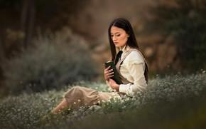 Картинка цветы, боке, настроение, книга, девушка