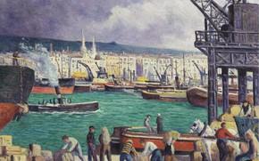 Картинка картина, городской пейзаж, 1913, Максимильен Люс, Maximilien Luce, Руан. Порт