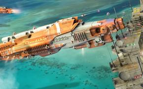Картинка fantasy, sea, science fiction, station, sci-fi, digital art, artwork, fantasy art, vehicle, futuristic, Spaceships