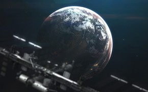 Картинка Станция, Планета, Космос, Арт, Space, Art, Космический Корабль, Planet, Station, Universe, Galaxy, Spaceship, Space Station, …