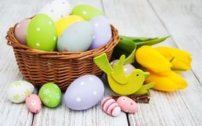 Картинка цветы, яйца, букет, желтые, colorful, Пасха, тюльпаны, happy, yellow, wood, flowers, tulips, Easter, eggs, decoration, …