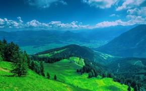Картинка Горы, Долина, Пространство