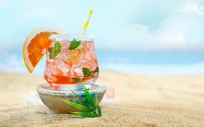 Картинка песок, море, пляж, коктейль, боке