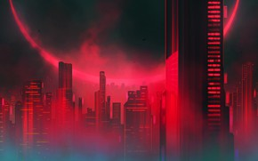 Картинка Вечер, Город, Небоскребы, Здания, City, Затмение, Архитектура, Арт, Фантастика, Небоскрёбы, Sci-Fi, Science Fiction, Futuristic, Josef …