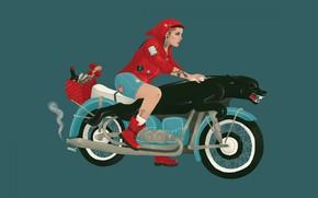 Картинка девушка, вектор, мотоцикл