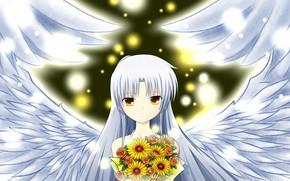Картинка девушка, букет, ангел