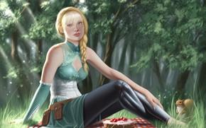 Картинка девушка, блондинка, пикник
