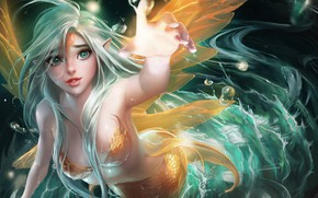 Картинка girl, bubbles, fantasy, green eyes, anime, digital art, Mermaid, artwork, fantasy art, creature, anime girl, …