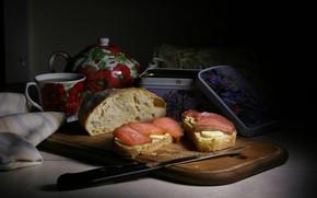 Картинка темный фон, чай, масло, еда, рыба, завтрак, чайник, хлеб, нож, чаепитие, чашка, шкатулка, кусочки, натюрморт, …