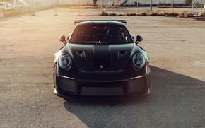 Картинка Porsche, Front, Black, Sunset, Evening, 991, Sight, GT2RS