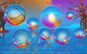Картинка пузыри, шары, голубой цвет