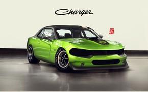 Картинка Авто, Зеленый, Машина, Стиль, Dodge, Car, Charger, Dodge Charger, Рендеринг, Vehicles, Transport, Transport & Vehicles, …