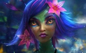Картинка цветок, глаза, девушка, лицо, фантастика, волосы, арт, губы