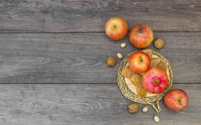 Картинка осень, листья, яблоки, фрукты, wood, autumn, leaves, fruit, apples