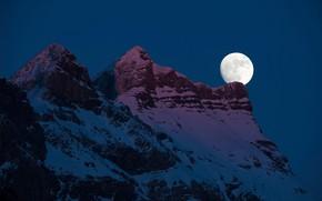 Картинка небо, снег, ночь, природа, скала, луна, гора