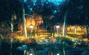 Картинка лес, ночь, пруд, качели, фонари, by K&P