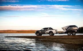 Картинка небо, вода, берег, Nissan, пикап, прицеп, водоём, 2018, Navara, Dark Sky Concept