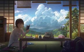 Картинка облака, стол, комната, книги, девочка