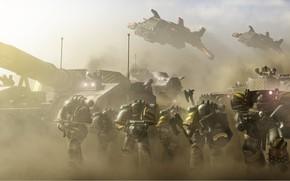 Картинка space marines, tank, Warhammer 40 000, Iron Warriors, terminator armor, IV legions
