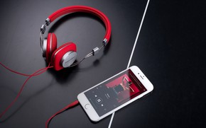 Картинка белый, стиль, музыка, наушники, провод, красные, смартфон
