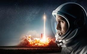 Обои поле, небо, космос, фон, огонь, дым, звёзды, ракета, скафандр, старт, взлёт, астронавт, пуск, Neil Armstrong, ...