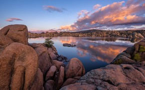 Картинка облака, озеро, отражение, камни, скалы, Аризона, США, Arizona, Prescott, Granite Dells
