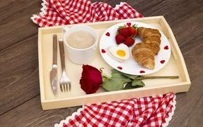 Картинка ягоды, роза, кофе, клубника, romantic, круассаны, Breakfast