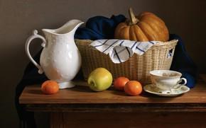 Картинка темный фон, яблоко, тыква, кувшин, натюрморт, корзинка, предметы, мандарины