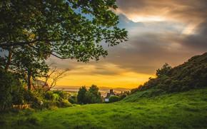 Картинка пейзаж, закат, природа, город, дом, побережье, Великобритания, Деганви