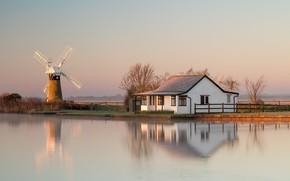 Картинка дом, отражение, река, мельница