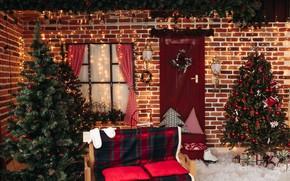 Картинка елка, Рождество, подарки, Новый год, new year, Christmas, design, room, interior, decoration, gift box, fir …