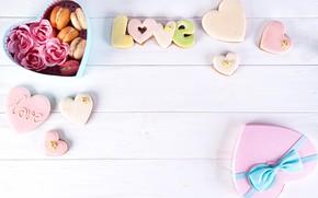 Картинка коробка, печенье, сердечки, композиция, macaron