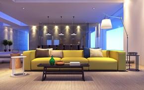 Картинка интерьер, гостиная, столовая, Manicured apartments