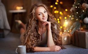Картинка взгляд, девушка, поза, волосы, елка, боке, Olga Boyko