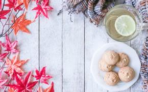 Картинка осень, листья, фон, дерево, шарф, печенье, red, клен, wood, background, autumn, leaves, cup, tea, cookies, …