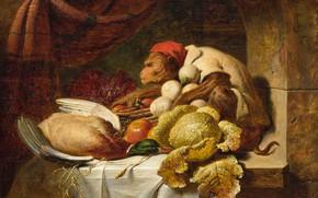 Картинка масло, картина, 1857, Красный колпак, George Lance, Джордж Ланс