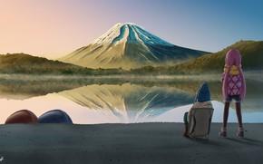 Картинка пейзаж, природа, гора, кемпинг, девчачий кемпинг, Laid-Back Camp