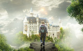 Картинка небо, деревья, птицы, туман, замок, фантазия, обрыв, сон, фэнтези, мужчина, путешествие, рюкзак, путник, странник, идет, …