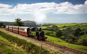 Обои небо, солнце, облака, деревья, холмы, поля, Англия, рельсы, поезд, паровоз, вагоны, железная дорога, Devon, England, ...